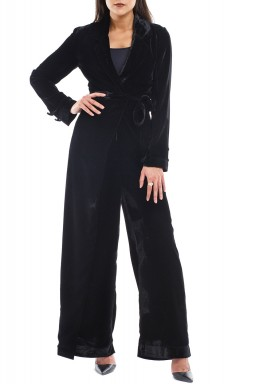 Black Velvet Wrap Jumpsuit