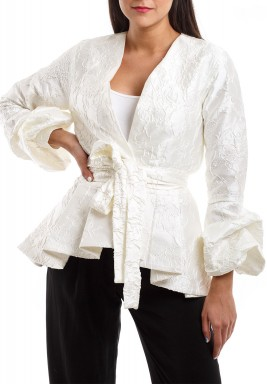 Pearly White Ruffled Jacket