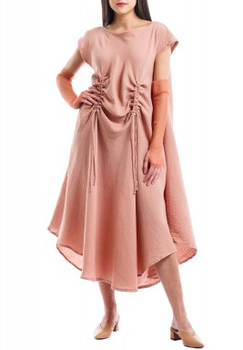 Peach Boat Neck Kaftan with Gloves