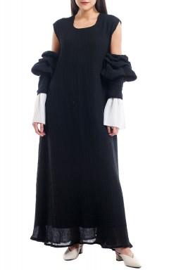 Black Puffed Sleeved Kaftan