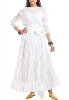 White Ruffled Skirt Set