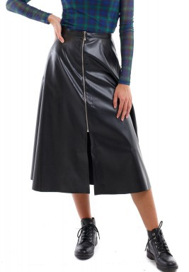 Black Zipper Leather Skirt