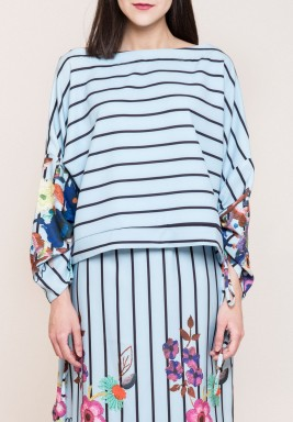 Striped Gathered sleeves top