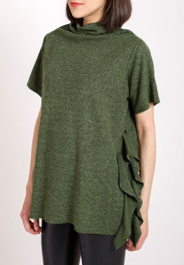 Green wool high funnel neck top