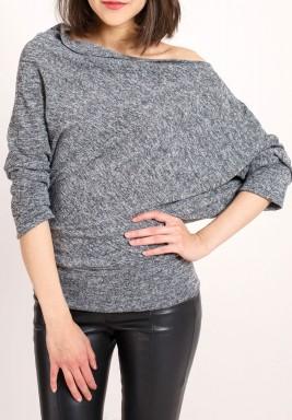 Grey Asymmetric knit top