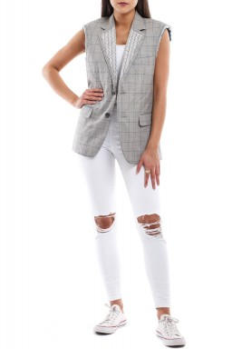 Fitted unfinished grey blazer