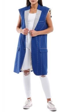 Blue over sized unfinished blazer