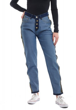High patch blue jeans