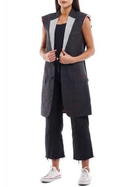 Black oversized unfinished blazer