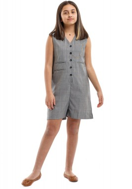 Light Grey Checked Kids Jumpsuit