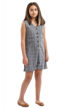 Grey Checked Printed Back Kids Jumpsuit