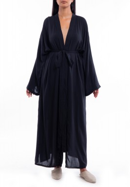 Black Long Sleeves Slit Robe