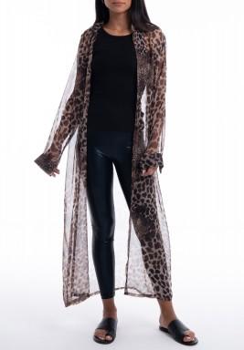Leopard Chiffon Long Sleeves Cardigan