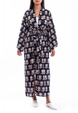 Black Kimono Printed Robe