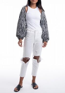 Zebra Puffed Sleeves Jacket