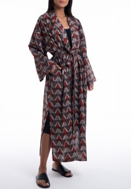 Black Triangles Print Slit Robe