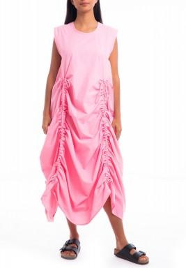 Pink Gathered Sleeveless Dress