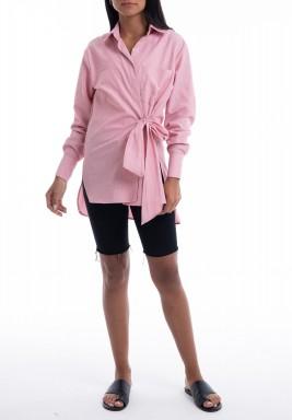 Pink Striped Wrap Shirt