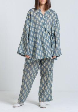 Blue Printed Side Tie Set