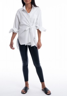 White Striped Wrap Shirt