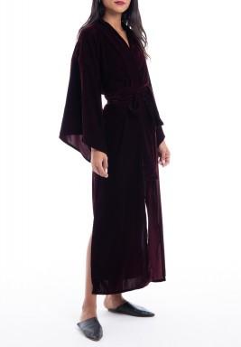 Maroon Velvet Slit Belted Kimono