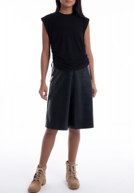 Black Drawstring Sleeveless Top