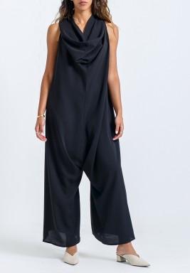 Black Oversized Sleeveless Jumpsuit