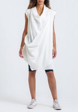 White Shawl Collar Sleeveless Top