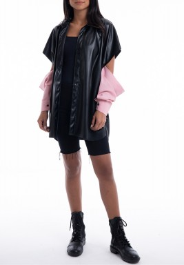 Leather Shirt with Pink Sleeves