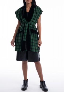 Green oversized velvet blazer
