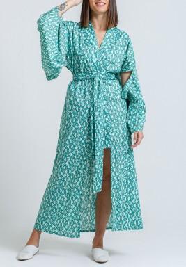 Green Triangles Print kimono