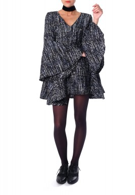 Flayered Tweed Dress