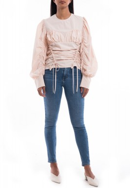 Pink Drawstring Puffed Sleeves Shirt