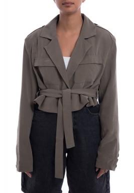 Khaki Belted Suit Blazer
