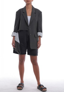 Olive green  Shredded Long Sleeves Blazer