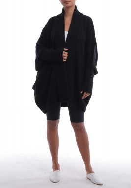 Black Fluffy Oversized Cardigan