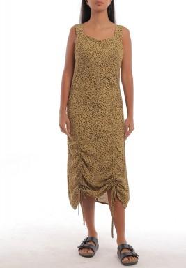 Leopard Drawstring Sleeveless Dress