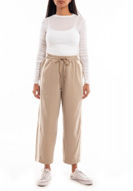 Beige Striped Sports Pants