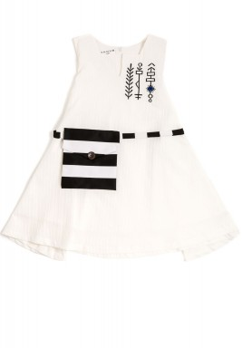 Off-white shawl dress for kids