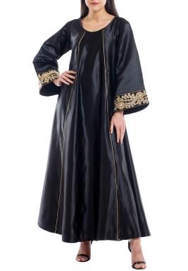 Al Maha Black Embroidered Cuffs Kaftan