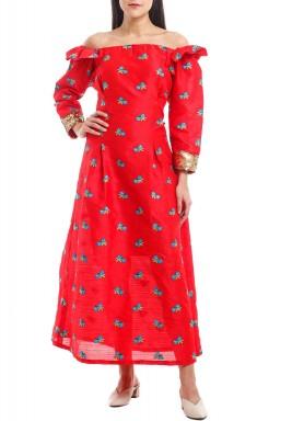 Zaina Floral Embroidered Off-Shoulder Kaftan