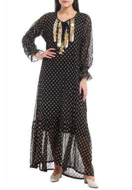 Nada Fully Embroidered Black kaftan