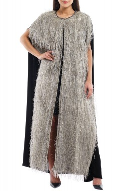 Black & Silver Feather Maxi Coat