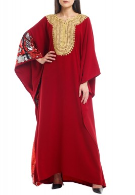 Maroon Embroidered Sequined Crepe Kaftan