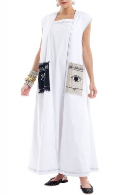 X|O 2020 White Sleeveless Eye-Pocket Kaftan