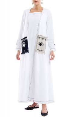 X|O 2020  White Long Sleeved Eye-Pocket Kaftan