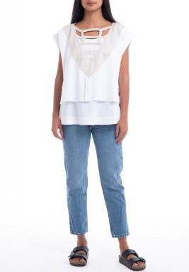 White Layered V-Neck Top