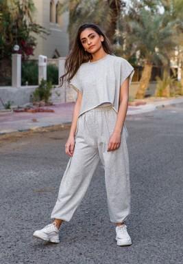 Grey sweat pants set
