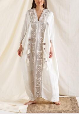 White Embroidered Maxi Kaftan