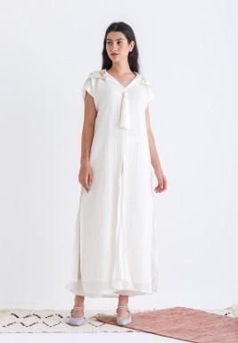 White Sequined Hoodie Kaftan Set